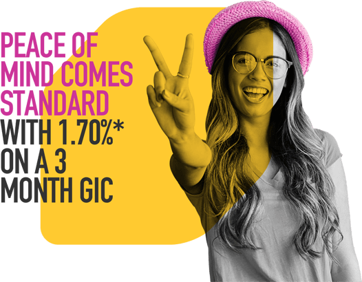 Peace of mind comes standard with 1.70%* on a 3 month GIC
