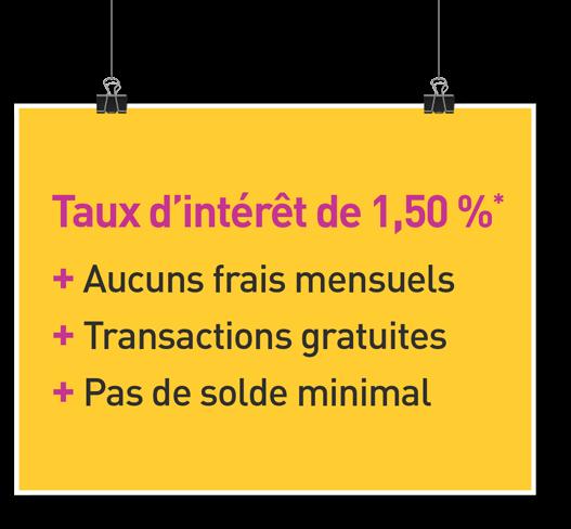 Taux d'intérêt de 1,70 %* + Aucuns frais mensuels + Transactions gratuites + Pas de solde minimum
