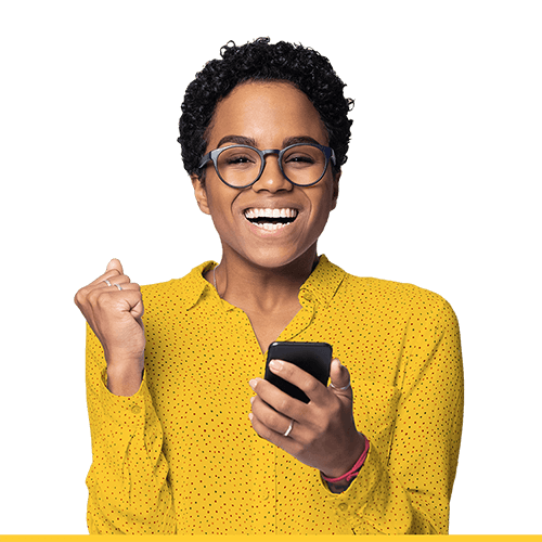 Woman wearing glasses clenches phone with excitement for the GIC featured rates